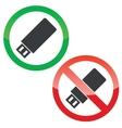 USB stick permission signs set vector image