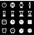 white clock icon set vector image
