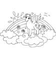 Coloring Pegasus in the sky with rainbow vector image