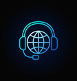 global support line blue icon vector image