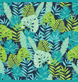Green and navy blue scattered tropical vector image