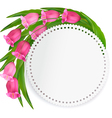 Holiday background with pink flowers and a gift vector image