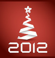 simple christmas tree made from white paper stripe vector image