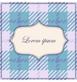 Plaid blue background with banner and frame vector image vector image