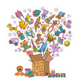 Childrens box for toys doodle pictures vector image