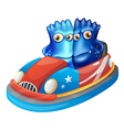 Two blue monsters riding a car vector image