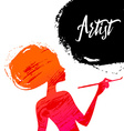 Beautiful artist girl silhouette Splash paint vector image