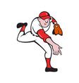 Baseball Player Pitcher Throwing Cartoon vector image