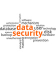 word cloud data security vector image vector image