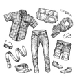 Fashion collection of men clothing Hand vector image