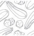 hand drawn seamless pattern with zucchini vector image