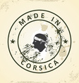 Stamp with map flag of Corsica vector image