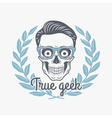 True geek skull with hipster glasses and vector image