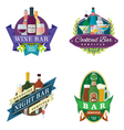 wine beer bar signs labels badges vector image