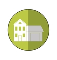 house family residential green circle shadow vector image