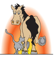 Cat and a horse vector image vector image