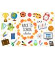 back to school icon set flat cartoon style vector image