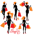 Set of Shopping woman silhouettes isolated on whit vector image vector image