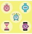 Retro clock icons vector image