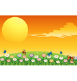 A colorful garden above the hills vector image