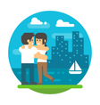 Flat design couple hugging near river vector image