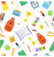 school seamless pattern student items vector image