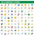 100 company icons set cartoon style vector image