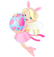Cute Fairy flying with Easter Egg vector image