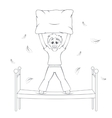 Bedtime in action Boy starts pillow fight vector image