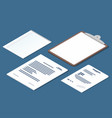 isometric set of receipt contract clipboard blank vector image