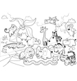 Savannah animal family with background in black vector image