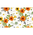 seamless pattern bouquets of orange yellow vector image