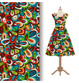 dress fabric with floral doodle pattern vector image