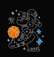 Dog in hat with basketball ball vector image