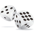 Two white dices in motion vector image vector image