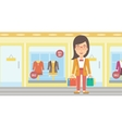 Happy customer with bags vector image