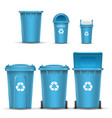 blue recycling bin bucket for paper trash vector image