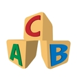Cubes with letters ABC cartoon icon vector image