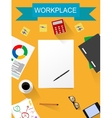 office desk working on white table vector image