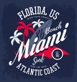surfboard and palm tree for american miami vector image