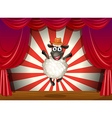 A stage with a sheep jumping at the center vector image