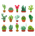 Big set of cute cartoon cactus and succulents with vector image