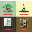 set of disabled people posters in flat vector image