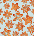 Seamless pattern of watercolor gingerbread cookies vector image