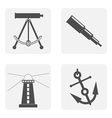 monochrome set with sea icons vector image