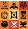 Barbecue party vintage emblems labels vector image
