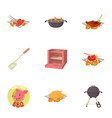 bbq party icons set cartoon style vector image