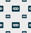 Cassette icon sign Seamless pattern with geometric vector image