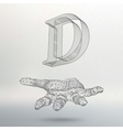 letter D of lines and dots on the arm The vector image