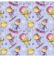 Winter sports cartoon sportsmen seamless pattern vector image